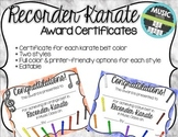 Recorder Karate / Dojo Volume 1 Certificates + Fully Edita
