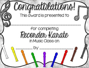 Recorder Karate / Recorder Dojo Certificates FREEBIE