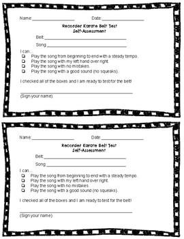 Recorder Karate Test Self Assessment