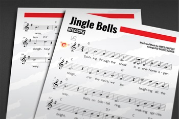 Recorder Sheet Music: Jingle Bells with MP3 and Recorder Fingering Chart