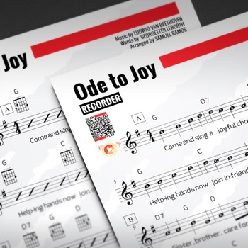 RECORDER SHEET MUSIC: Ode to Joy - Beethoven w/ FINGERING CHART