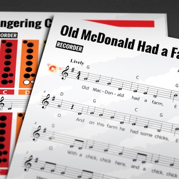 RECORDER SHEET MUSIC: Old McDonald Had a Farm with FINGERING CHART