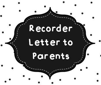 Recorder Letter to Parents
