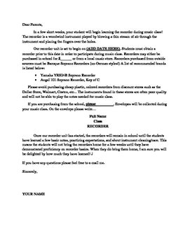 Recorder Letter (to send home to parents) -- Customize it!