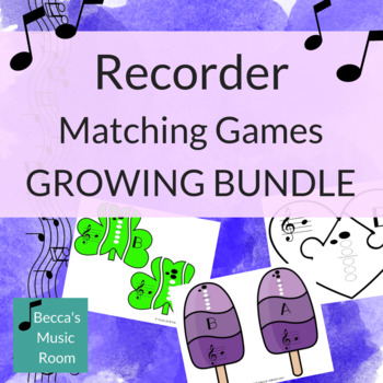 Recorder Matching Games for Music Centers GROWING BUNDLE