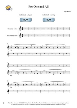 Recorder Music: Beginners - For One and All