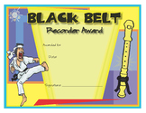 Music Certificates - Recorder Karate Black Belt Award Certificate