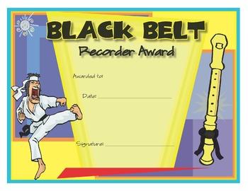 Music Certificates - Recorder Karate Black Belt Award Certificate