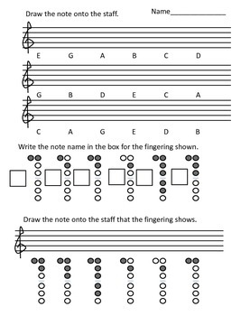 Recorder Note Assessment EGABCD