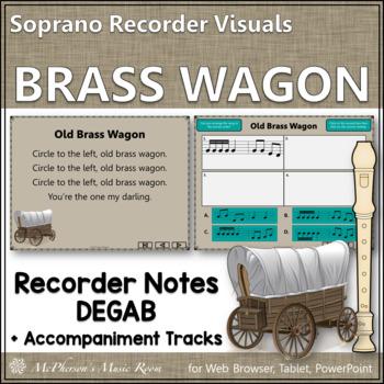 "Recorder Song ""Old Brass Wagon"" (Notes DEGAB) soprano recorder visuals"