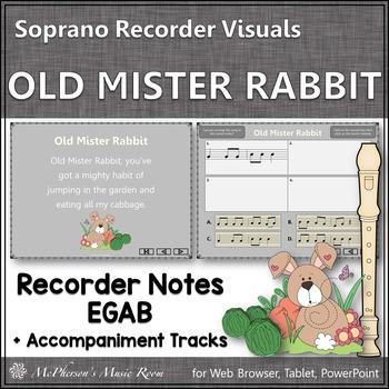 "Recorder Song ""Old Mister Rabbit"" (Notes EGAB) soprano recorder visuals"