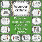 Recorder Orders Bulletin Board Set: Recorder Rules Color ~ B/W ~ Ink-Saver