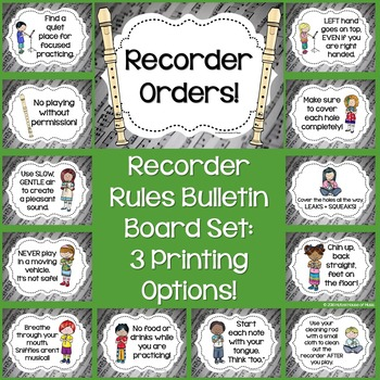 Recorder Orders Bulletin Board Set: Recorder Rules Color ~