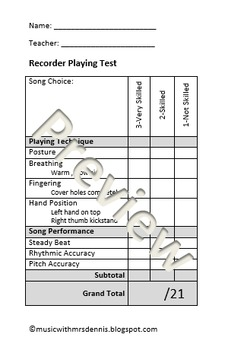 Recorder Playing Test Rubric
