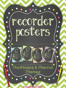 Recorder Posters - Chevron & Chalkboard Theme