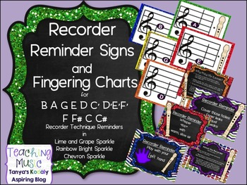 Recorder Posters and BAGE Fingering Charts