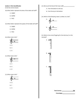 Recorder Pre-Test/Post-Test