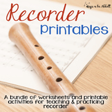 Recorder Printables {A Growing Bundle of Worksheets, Games