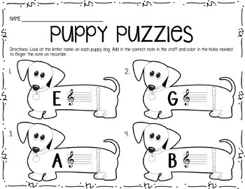 Recorder Puppy Puzzles