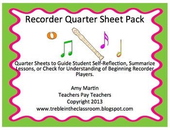 Recorder Quarter Sheets