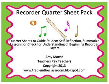 Recorder Quarter Sheets