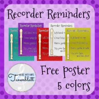 Recorder Reminders Poster FREEBIE