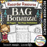 Recorder Resource: BAG Bonanza- 20 Page No-Prep worksheets!!