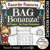 Recorder Resource: BAG Bonanza- 20 Page No-Prep worksheets!!