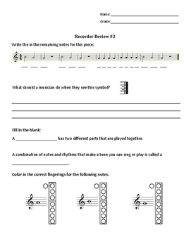 Recorder Review Worksheets
