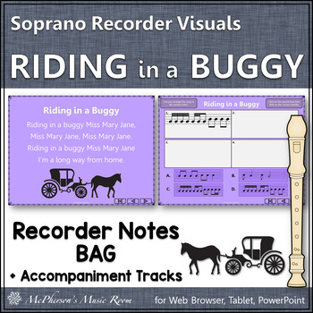 """Recorder Song """"Riding in a Buggy"""" (Notes BAG) - soprano re"""