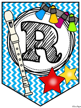 Recorder Rock Stars Pennant/Banner - PPT Edition (Printable) - BLUE CHEVRON