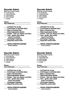 Recorder Rubric Beginner - 4 per page