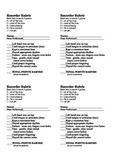 Recorder Rubric Beginner - 4 per page