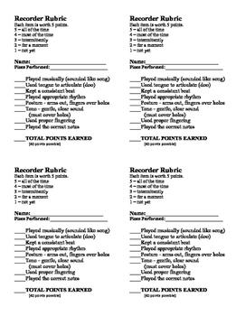 Recorder Rubric Advanced - 4 per page