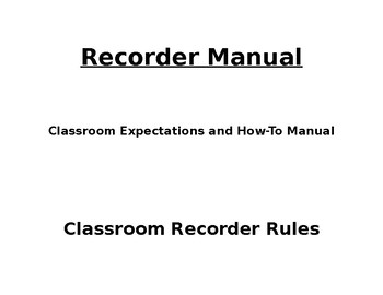 Recorder Rules/Manual