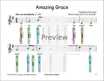 Recorder Sheet Music - Amazing Grace