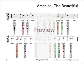 Recorder Sheet Music - America The Beautiful