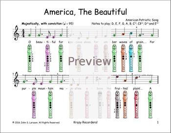 America The Beautiful Sheet Music Recorder