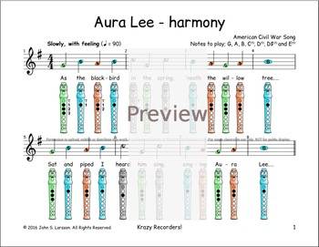 Recorder Songs - Aura Lee Duet - Digital Print