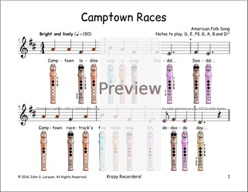 Recorder Sheet Music - Camptown Races