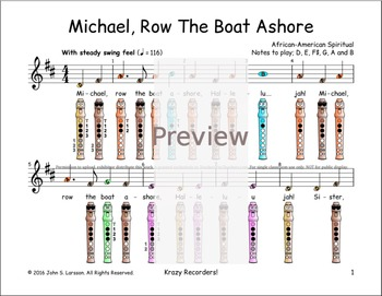 Recorder Sheet Music - Michael Row The Boat Ashore - Digital Print