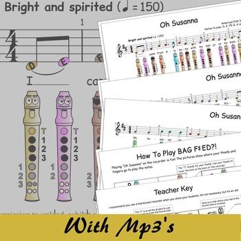 Recorder Sheet Music - Oh Susanna - Disney (Digital Print)