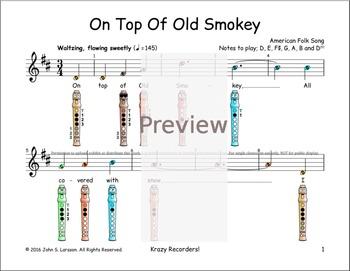 Recorder Sheet Music - On Top Of Old Smokey