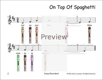 Recorder Sheet Music - On Top Of Spaghetti
