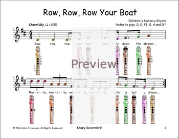 Recorder Sheet Music - Row Row Row Your Boat