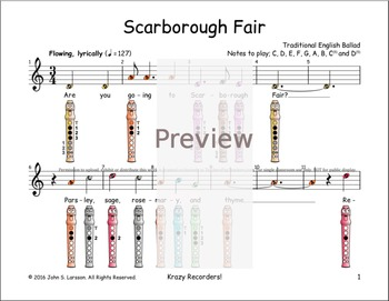 Recorder Sheet Music - Scarborough Fair - Digital Print