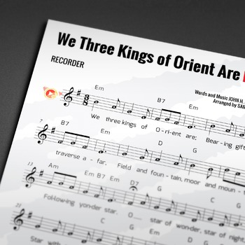 Recorder Sheet Music: We Three Kings of Orient Are - Christmas Carol