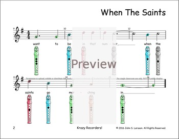 Recorder Sheet Music - When The Saints