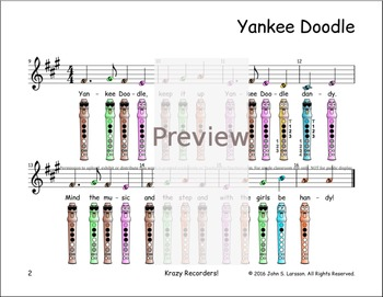 Recorder Sheet Music - Yankee Doodle - Digital Print