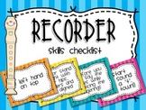 Recorder Skills Checklist Posters